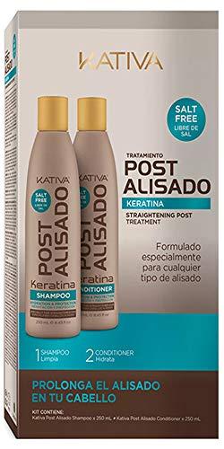 Kativa Post Alisado, Kit Champú y Acondicionador sin Sal, Pack de 2 botellas x 250 ml